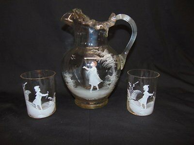 Antique Hand Painted Blown Glass Pticher Set (2 Glasses)