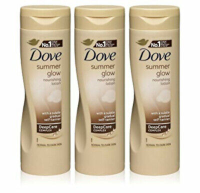 Dove Summer Glow Self Tan Moisturiser Body Lotion Normal-Dark  X3 TRIP PACK