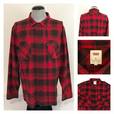 d42ce8eaad6 Levis Mens 2XL Buffalo Plaid Red Black XXL Twill Woven Flannel Button Up  Shirt