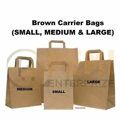 "20 SMALL BROWN KRAFT PAPER CARRIER SOS TAKEAWAY BAGS WITH FLAT HANDLE 7""x9""x3.5"""