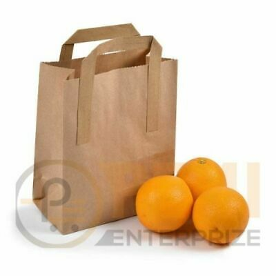 """25 SMALL BROWN KRAFT PAPER CARRIER SOS TAKEAWAY BAGS WITH FLAT HANDLE 7""""x9""""x3.5"""""""