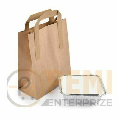 """50 SMALL BROWN KRAFT PAPER CARRIER SOS TAKEAWAY BAGS WITH FLAT HANDLE 7""""x9""""x3.5"""""""