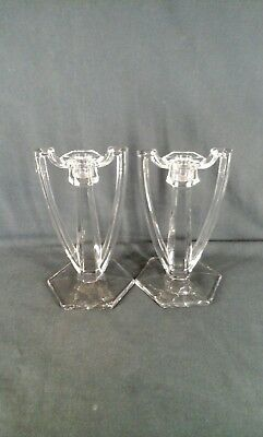 .Pair Of Crystal Candle Stick Holders, With Handles.