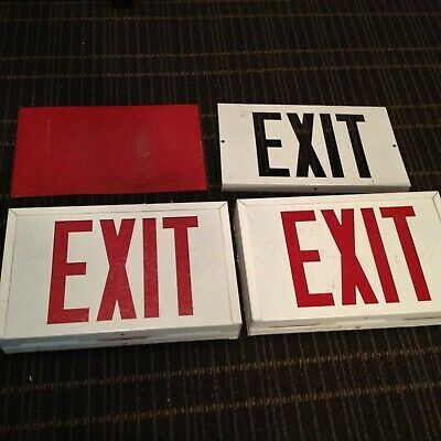 Vintage Metal Exit Sign Lot Of 2 Light Fixture Red Letters Untested As Found