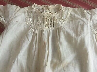 Antique vtg Victorian cotton w lace child~baby christening gown~day dress ivory