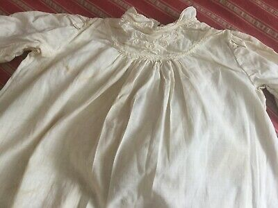 Antique vtg Victorian cotton childs~baby christening gown~day dress ivory