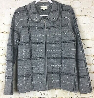 03dd74ff7fc7e Appleseeds Women s Sweater 100% Wool Gray Plaid Full Zip Cardigan Size  Petite S