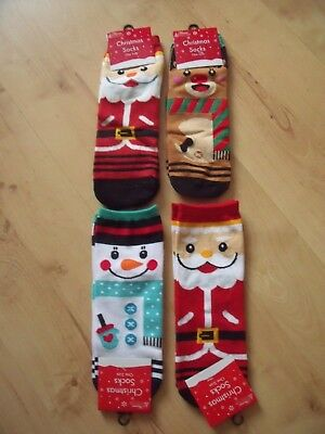 2 Pairs Kids Childrens Unisex Xmas Christmas Socks One Size Approx 12-3 New