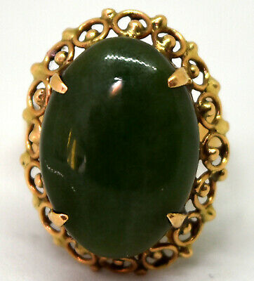 Antique Chinese 14K Solid Gold and Large Spinach Jade Ring Size 5