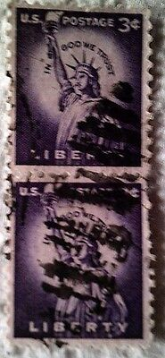1954 Scott 1035 U. S. Statue of Liberty two used 3 cent stamps off paper