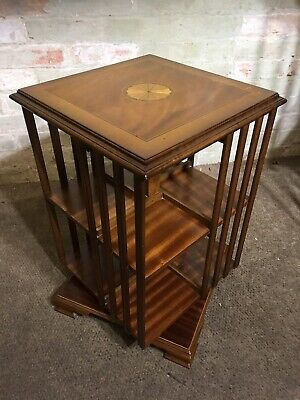 Yew Wood Inlaid Revolving Bookcase . Delivery Available