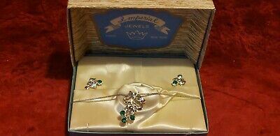 Imperial Jewels Antique Silver Plated Emerald Green Colored Necklace Earrings