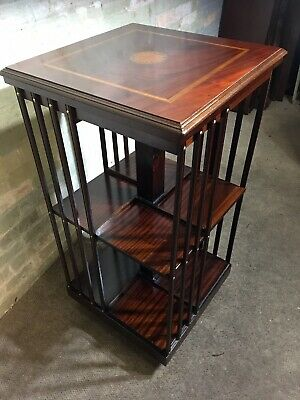Very Large Solid Mahogany Inlaid Revolving Bookcase . Delivery Available