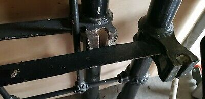Antique Iron double bed on wheels , needs a respray,