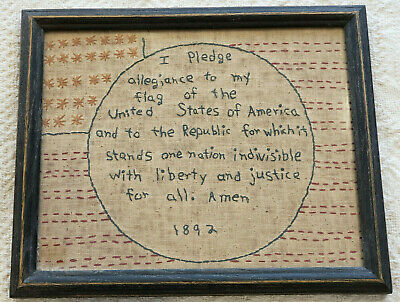 Antique Embroidered Art Sampler with Frame Pledge of Allegiance 1892