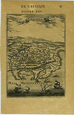 "1683 Genuine Antique print ""Alexandrie"", Egypt, Alexandria, Africa. by AM Mallet"