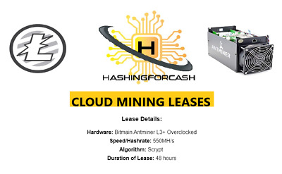 550MH/s ANTMINER L3+ ASIC / 48 Hour Litecoin Mining Rental / Contract Lease LTC