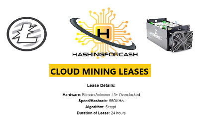 1 Day Litecoin Mining Rental / Contract Lease- 550MH/s ANTMINER L3+ ASIC