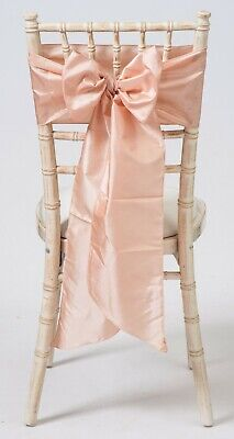 100 Blush Pink  Taffeta Chair Cover Wedding Sash Bow Wedding Party UK