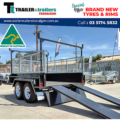 8x5 TANDEM AXLE HEAVY DUTY ALL-PURPOSE TRAILER+CAGE+RACKS+RAMPS+NEW WHEELS