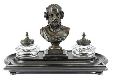 Homere Patinated Bronze Inkwell Mounted on Onyx Base, 19th Century