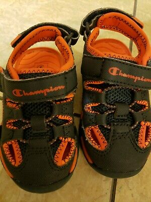 a305b011aa65 CHAMPION TODDLER BOYS Size 5 Hook Loop Sandal Shoes Blue and Orange ...