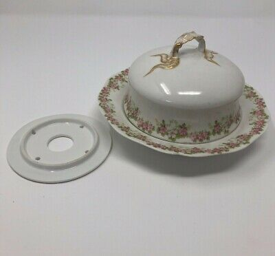 Wm Guerin Limoges France Porcelain Butter Dish with lid Pink Flower Rose
