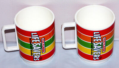 DEKA Life Savers Candy Roll Vintage Plastic Mugs - 2 in Great Used Condition