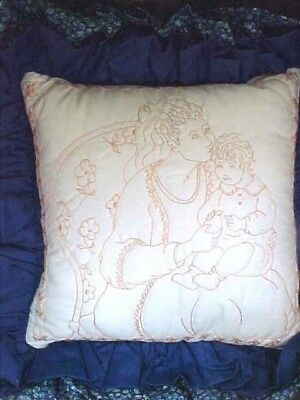 Embroidered Pillow Completely Stitched Mother with Baby Boy White Background