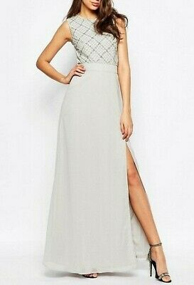 Maya Women's Grey Embellished Bodice Maxi Long Cocktail Party Dress UK 14 42 £90