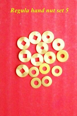 Regula  hand nut set of 3 pieces x 5,    minute hand bush, washer & special nut.