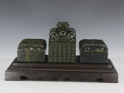 Chinese Exquisite Hand-carved Dragon Text Carving Hetian jade seal 3pcs