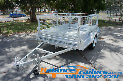 7.7x5 HOTDIP GALVANISED FULLY WELDED BOX TRAILER WITH 600mm REMOVEABLE CAGE