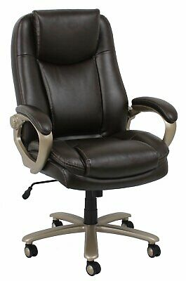Big & Tall 400 lbs. Capacity Brown Leathersoft High Back Executive Office Chair