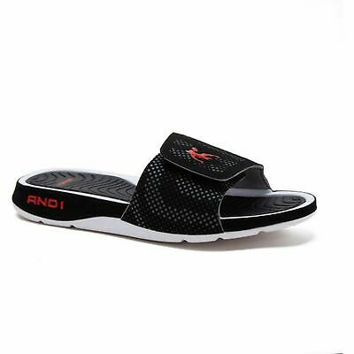 0403177b6331 NEW W TAG MEN S AND1 ENIGMA BLACK SLIDE SANDALS SLIPPERS SIZE 9 or 10 NWT