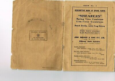 Vintage farming manual SHEARER  combines and seed drills, parts catalogue