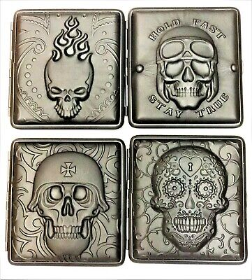 3D Skull Cigarette Hard Case Holder Push Tobacco Holds 20 cigs Genuine Leather