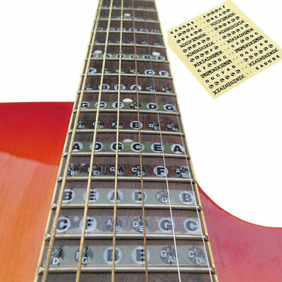 Guitar Neck Fretboard Note Map 24 Fret Sticker Lable Decal Learn Fingerboard New