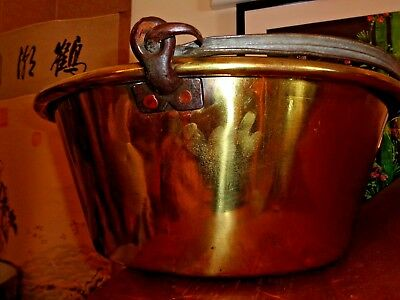 Large 7 X 22 Inches Antique Brass Cooking Jam Pot With Iron Handles C  C1850'S