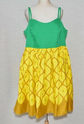 efab1f564e1 Collectif Jade Pineapple Swing Dress x ModCloth Pin-Up Colada A-line Fits 2X