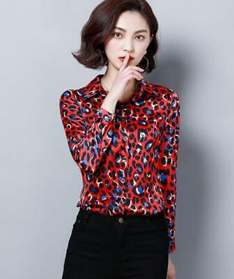 Womens Ladies Fashion Leopard Print Silk Like Long Sleeves Shirt Blouse Top 4476