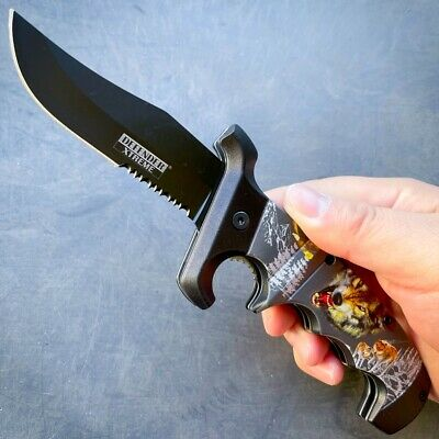 "11"" Full Tang Bone Hunting Knife w/ Sheath Tactical Survival Bowie Camping"