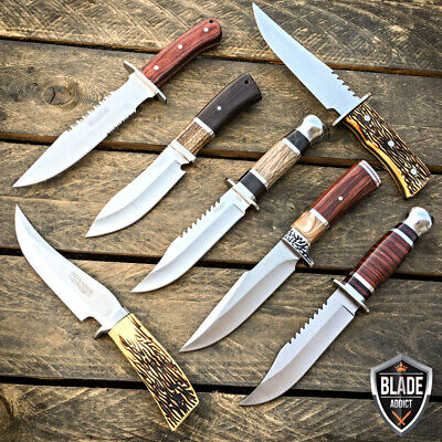 7PC SET Bone + Wood Hunting Knife w/ Sheath Tactical Survival Bowie Camping Lot!