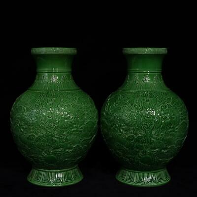 Chinese Exquisite Handmade green glaze carved dragon porcelain vase a pair