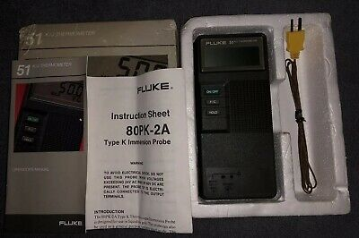 Fluke 51 & 80 PK 1 Type K Thermo Multi Meter Thermocouple Temperature C50 Case 2