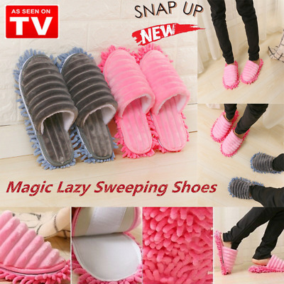 CORAL FLEECE Dust Mop Slippers Lazy Floor Foot Sock Shoe for Polishing Cleaning#