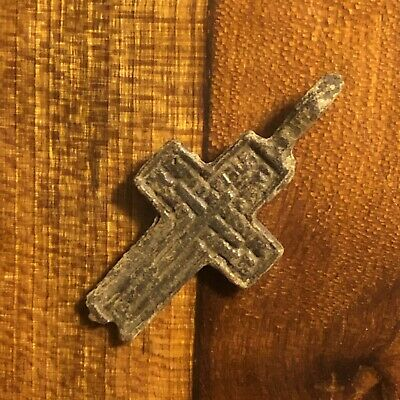 1600s Copper Cross Pendant Catholic Christian Jesus Medieval Style Writing Old A