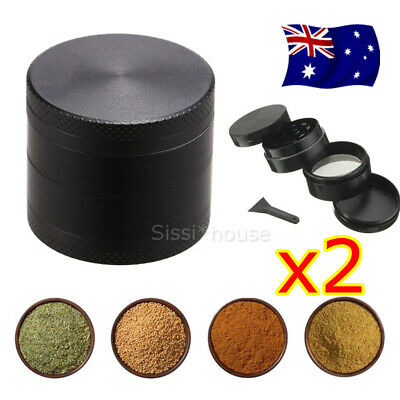 2X Herb Tobacco Grinder Smoke Muller Metal 4-Piece Magnetic Lid Crusher Scraper
