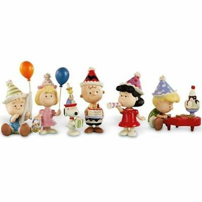 New Lenox Peanuts Birthday Party 6-Piece Figurine Set Charlie Brown Snoopy Lucy