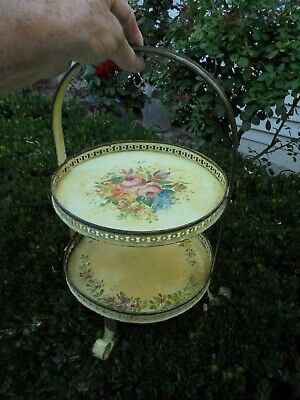 Antique 1932 Hand Painted French 2 Tier Cake Stand Shop Display Wrought Iron